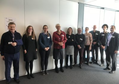 CarboMet review meeting, Brussels, 22 Feb 2018. L-R: Rodney Townsend, Claire Doherty, Isabelle Compagnon, Sabine Flitsch, Paula Domann, Serge Perez, Frederique Lisacek, Daniel Spencer, Nick Weise, Lokesh Joshi.