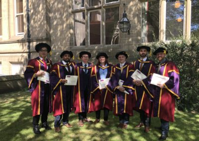 Group Graduations, 20th July 2018. L-R: Jin Xu (Frank); Syed Ahmed; Scott France; Lorna Hepworth; Matthew Thompson; Michel Riese; Alex Wood.